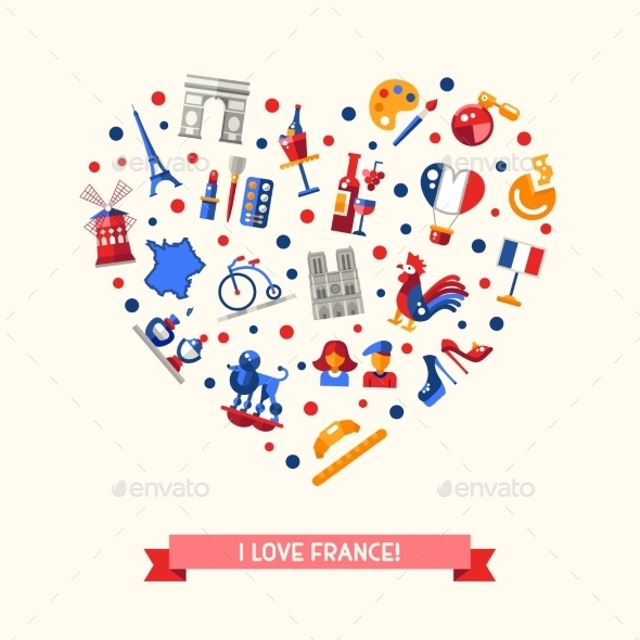 France Travel Icons Heart Postcard - Travel Conceptual