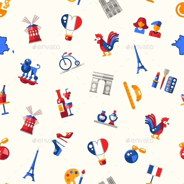 France Travel Icons Seamless Pattern - Travel Conceptual