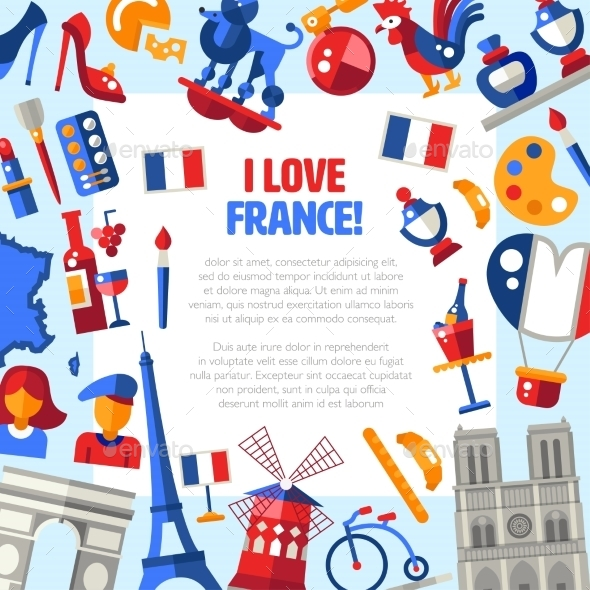 France Travel Icons Circle Postcard - Travel Conceptual