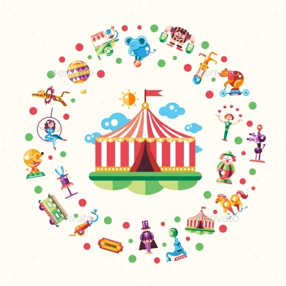 Circus, Carnival Icons And Infographic Elements - Seasons/Holidays Conceptual