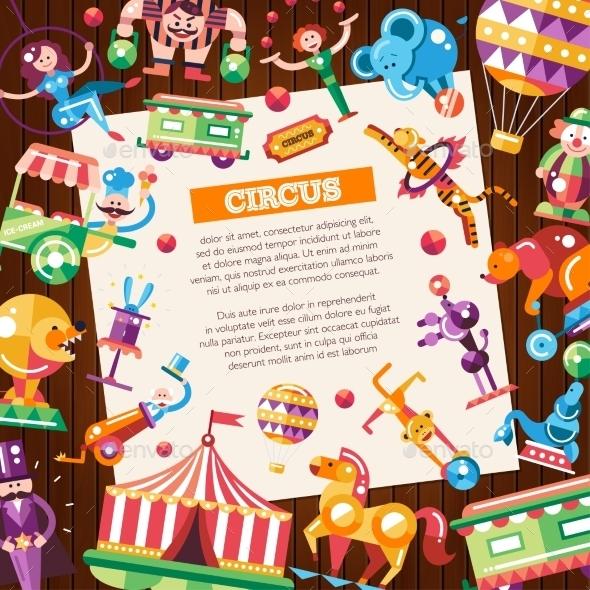 Circus & Carnival Icons Postcard - Miscellaneous Vectors