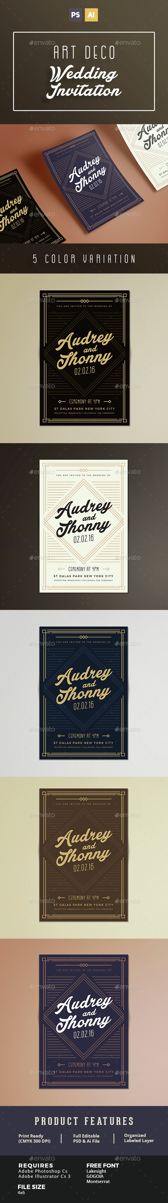 Art Deco Wedding Invitation - Weddings Cards & Invites