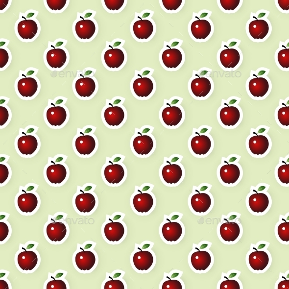 Vector Seamless Background With Apples - Food Objects