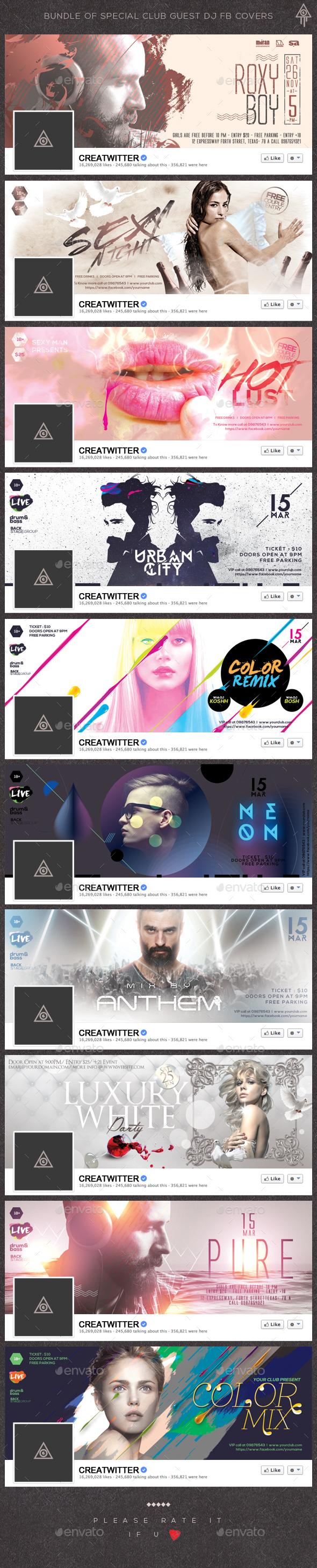 Bundle of Special Club Guest DJ Facebook Covers - Facebook Timeline Covers Social Media