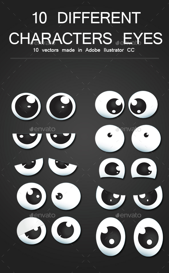 10 character eyes pack - Characters Illustrations