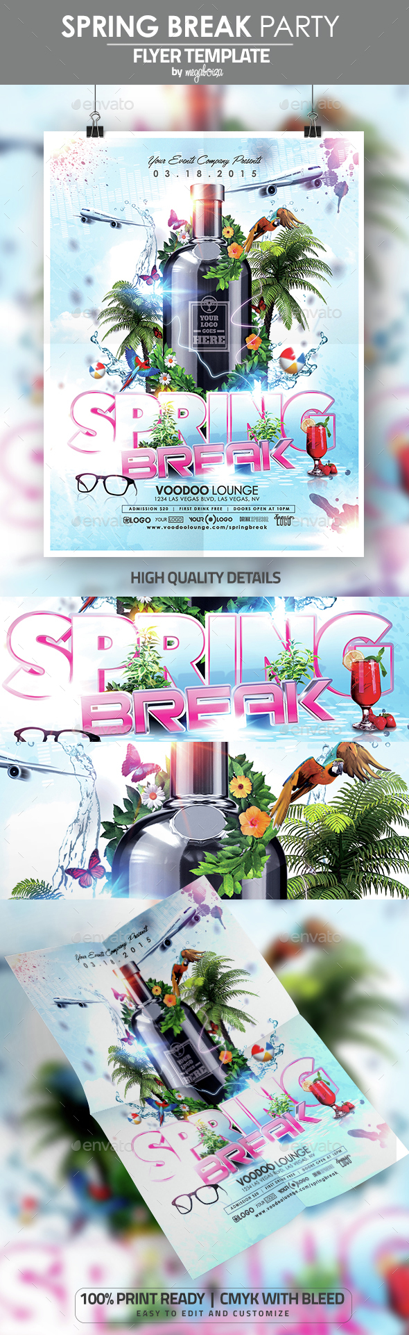 Spring Break Party Flyer / Poster Template - Events Flyers