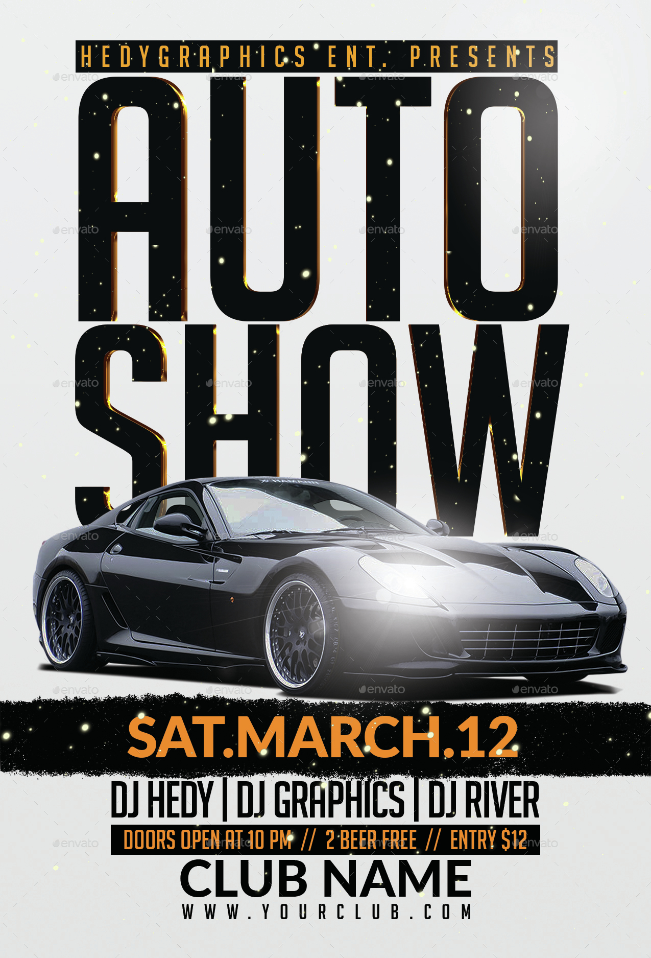 Auto Show Flyer Template By HedyGraphics GraphicRiver - Car show flyer background