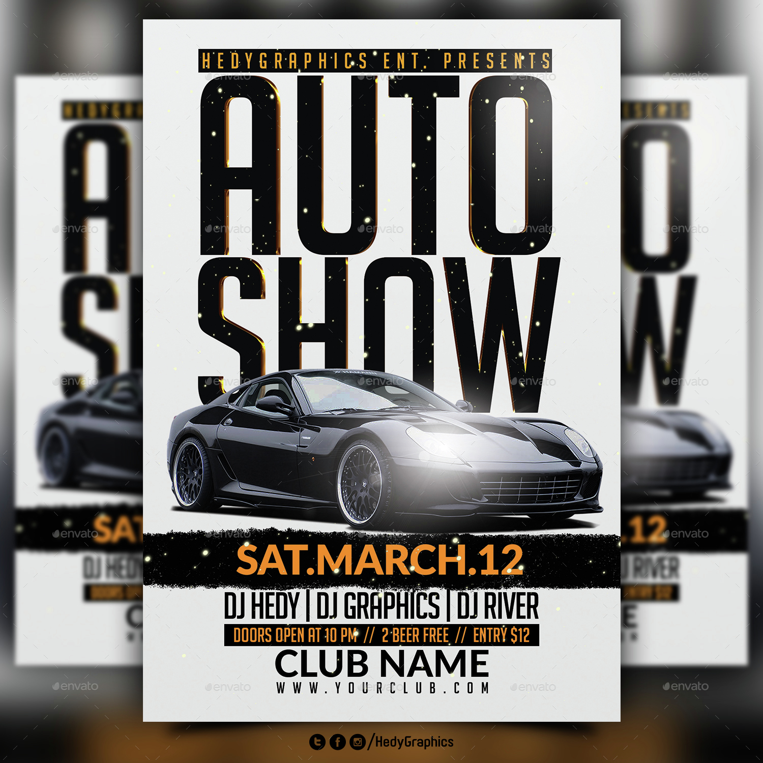 Auto Show Flyer Template By HedyGraphics GraphicRiver - Car show flyer template