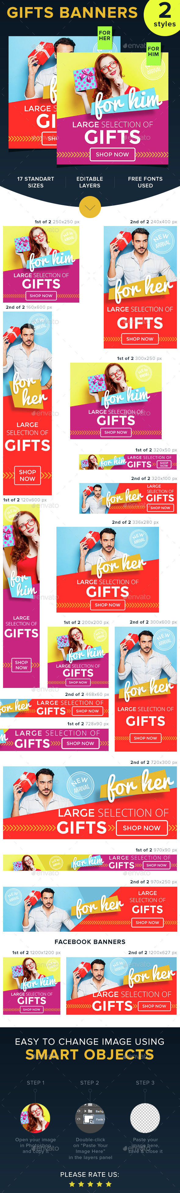 Gifts for Her & Him - Banners & Ads Web Elements