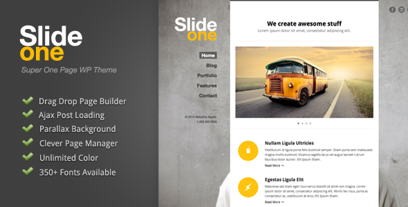 Slide One – One Page Parallax, Ajax WP Theme