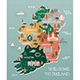 Travel Map of Ireland with Landmarks and Cities - GraphicRiver Item for Sale