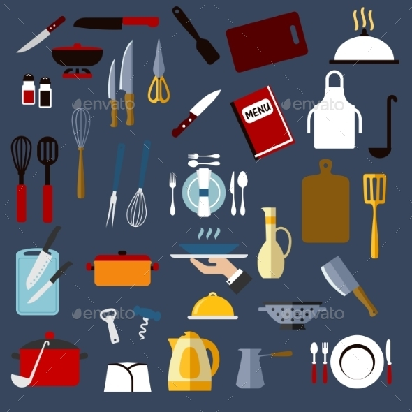 Kitchen Utensil and Dishware Flat Icons - Buildings Objects