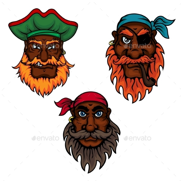 Cartoon Pirate Captain And Sailors Heads - Tattoos Vectors