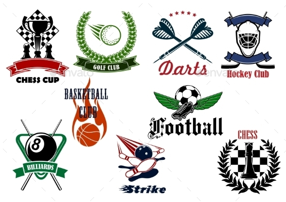 Heraldic Sport Emblems And Icons With Items - Sports/Activity Conceptual