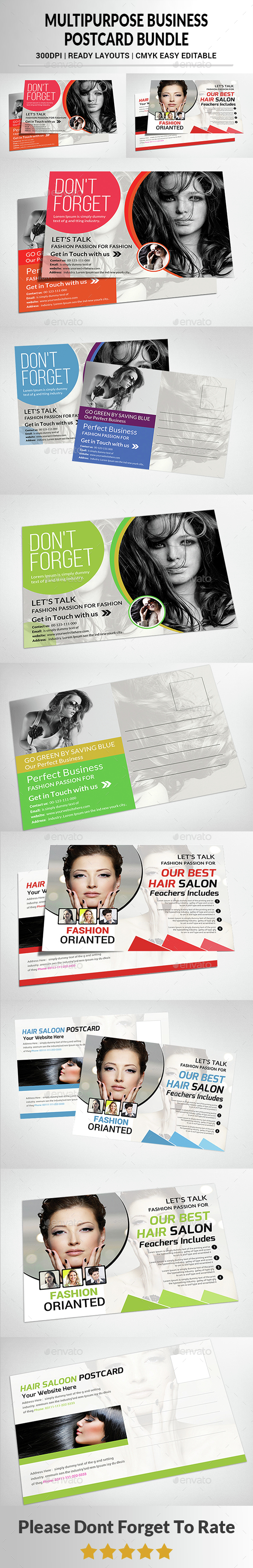 Multipurpose Business Postcard Bundle - Cards & Invites Print Templates