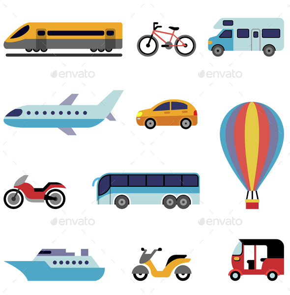 Colorful Flat Transport Icons - Travel Conceptual