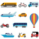 Colorful Flat Transport Icons - GraphicRiver Item for Sale