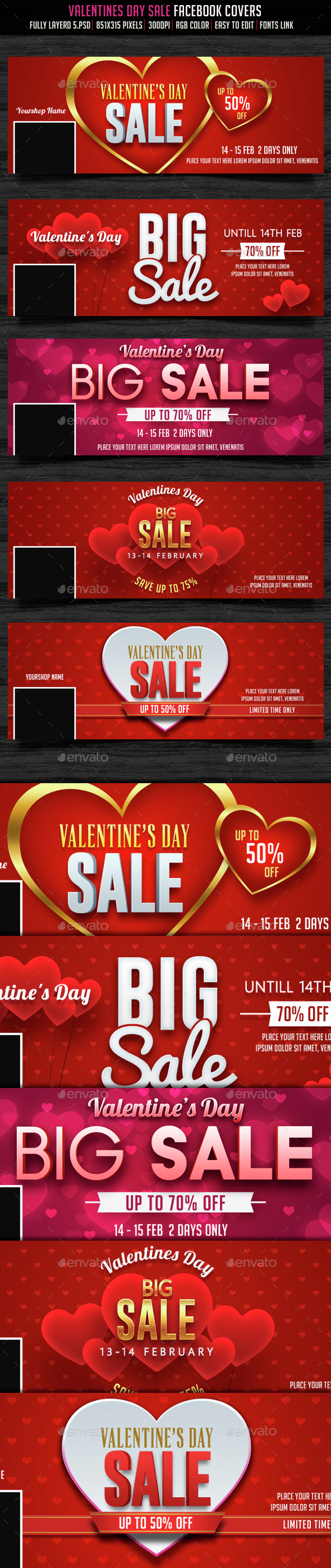Valentines Day Sale Facebook Cover