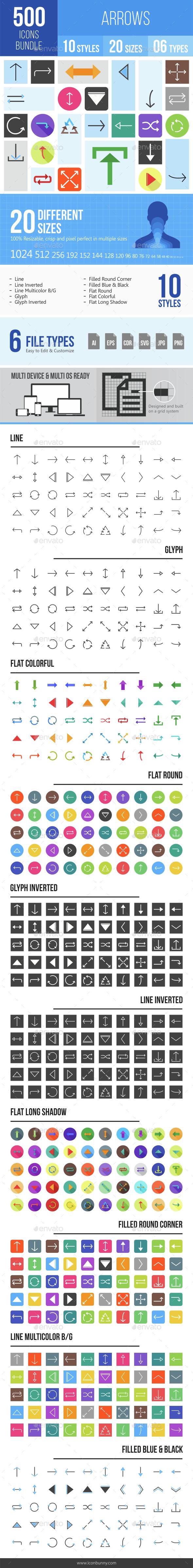 500 Arrows Icons Bundle - Icons