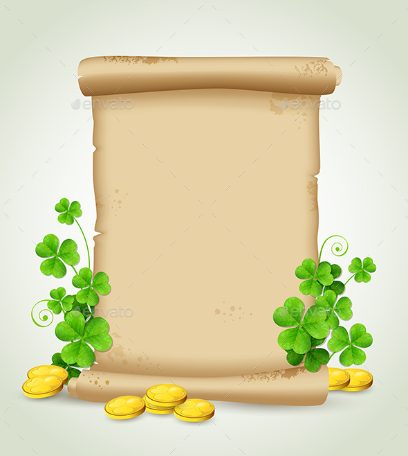 Scroll and Clover Leaves  - Backgrounds Decorative