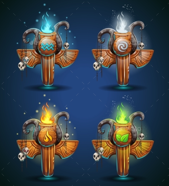 Set Shaman Totems - Symbols Of The Four Elements - Objects Vectors
