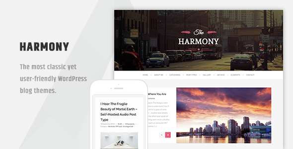 Harmony - Clean Responsive Wordpress Blog Theme - Personal Blog / Magazine