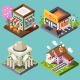 Cute Isometric City Places.  - GraphicRiver Item for Sale