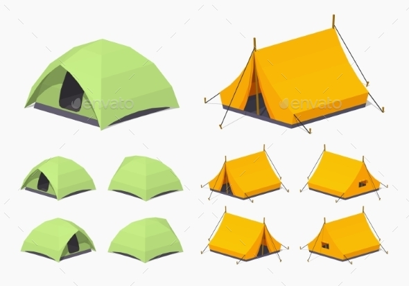 Green and Orange Camping Tents - Travel Conceptual