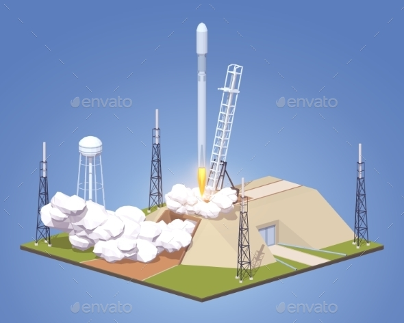 Launch of a Modern Space Rocket - Travel Conceptual