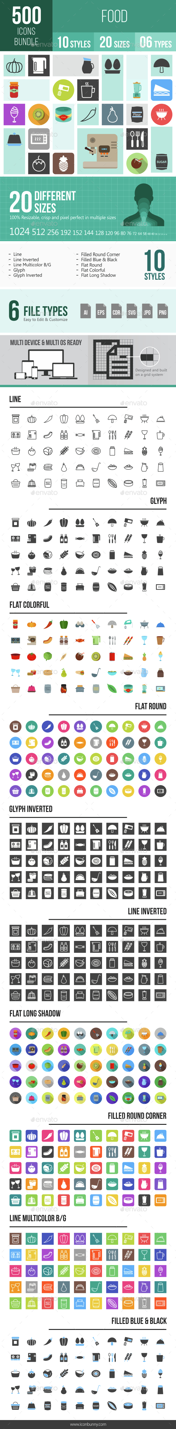 500 Food Icons Bundle - Icons