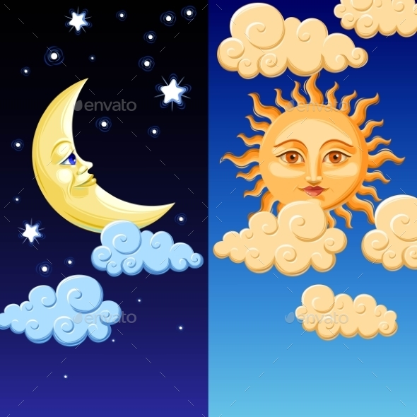 Sun and Moon - Miscellaneous Vectors