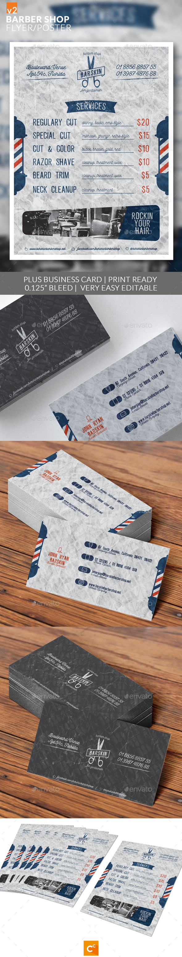 Barber Shop Flyer/Poster v2 - Flyers Print Templates