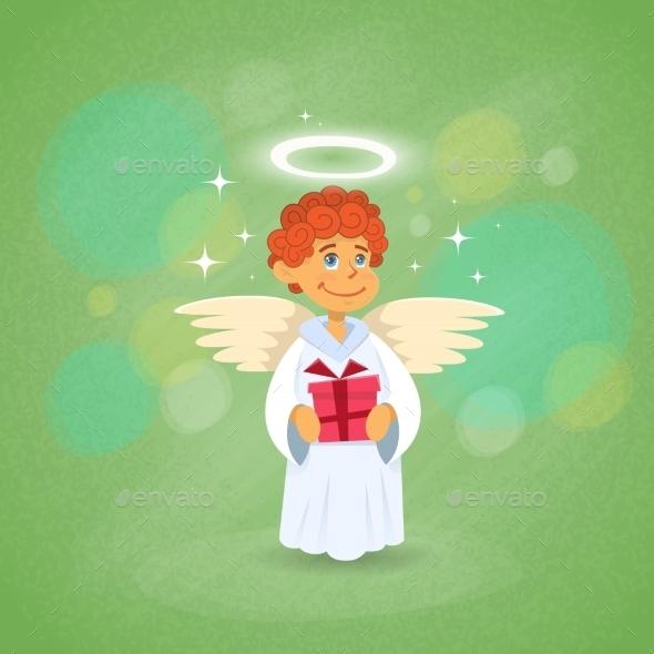 Valentine's Angel Cupid Holding Present - Valentines Seasons/Holidays