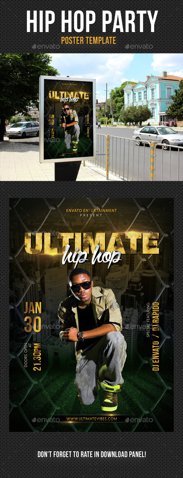 Hip Hop Ultimate Party Event Poster - Signage Print Templates