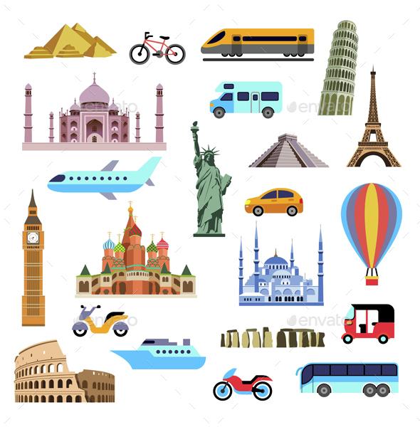 Tourism Flat Icons Set - Travel Conceptual