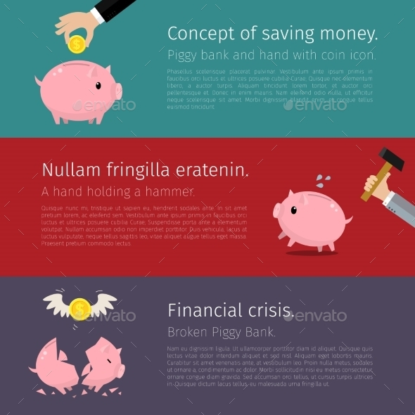 Set of Piggy Bank - Concepts Business