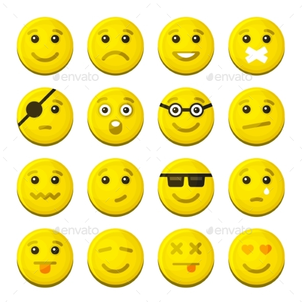 Yellow Smile Emotion Icons Set. Vector - Web Icons