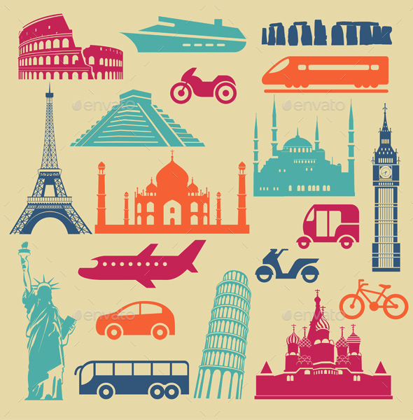 Tourism Icons Set - Travel Conceptual