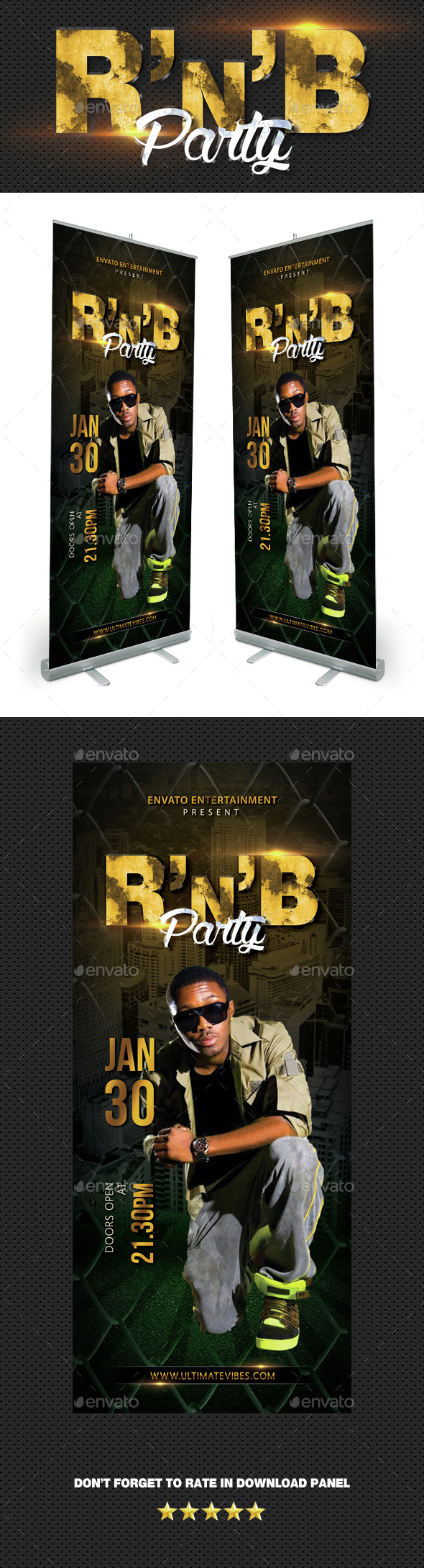 RnB Hip Hop Party Event Banner - Signage Print Templates