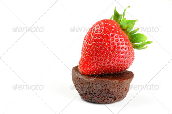 Strawberry and Brownie - Stock Photo - Images