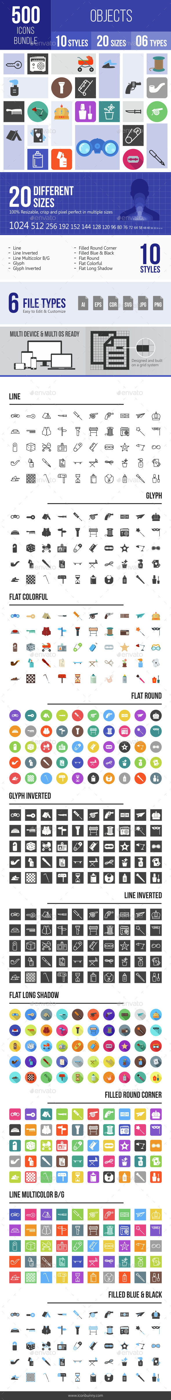 500 Objects Icons Bundle - Icons