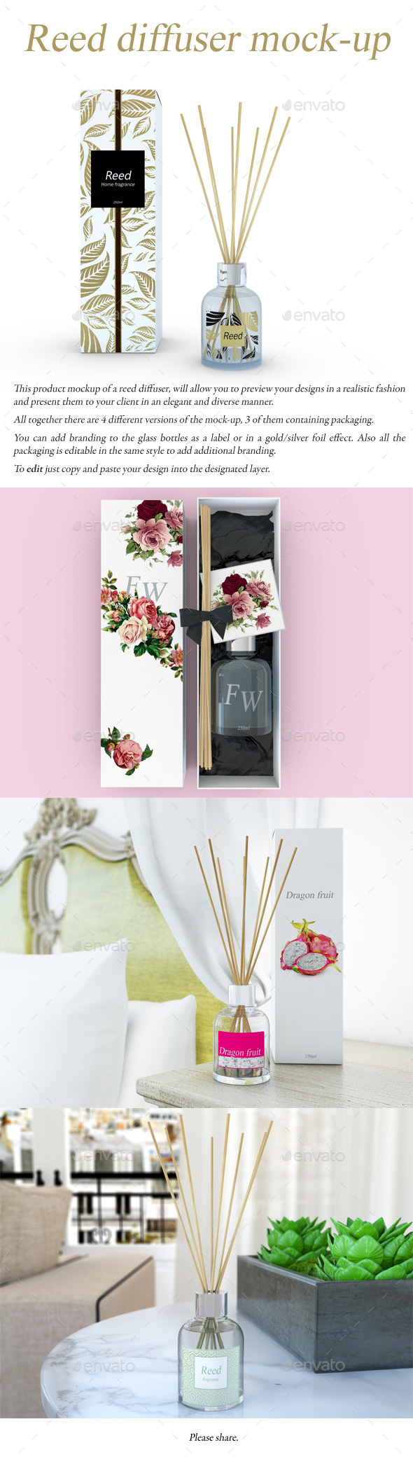 Reed Diffuser Mock-Up - Product Mock-Ups Graphics