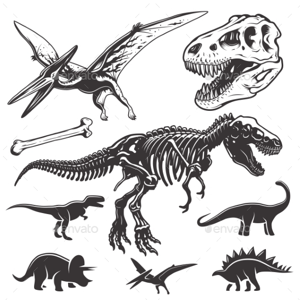 Set of Dinosaurs Elements - Monsters Characters