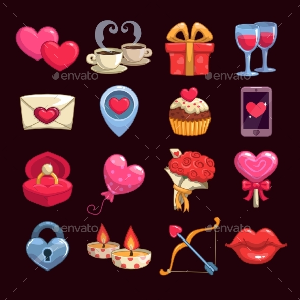 Cartoon Love and Passion Icons - Valentines Seasons/Holidays