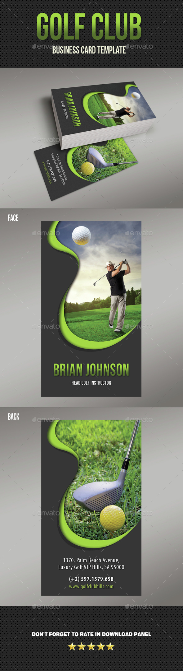Golf Club Business Card 03 - Business Cards Print Templates