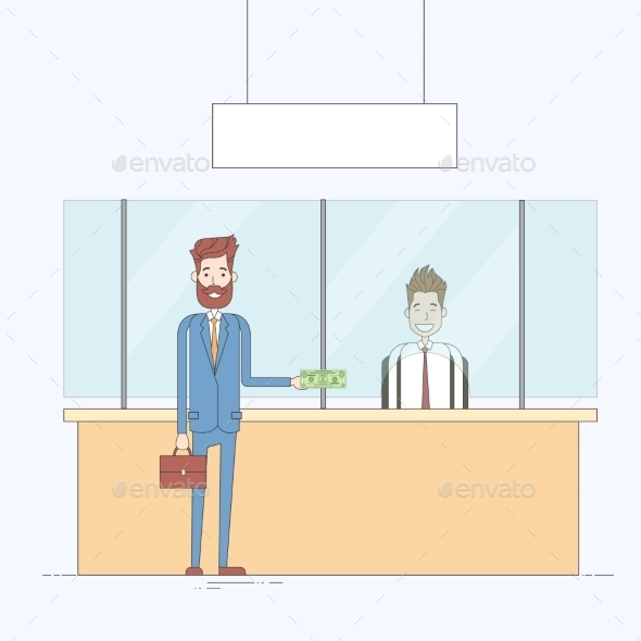 Business Man Give Cash Dollar Bank Office Worker - Concepts Business
