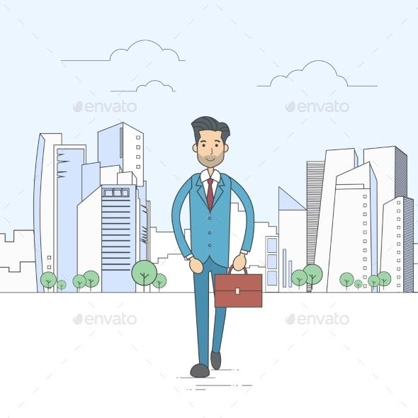Businessman Walking Street City Skyscraper Cartoon - Concepts Business
