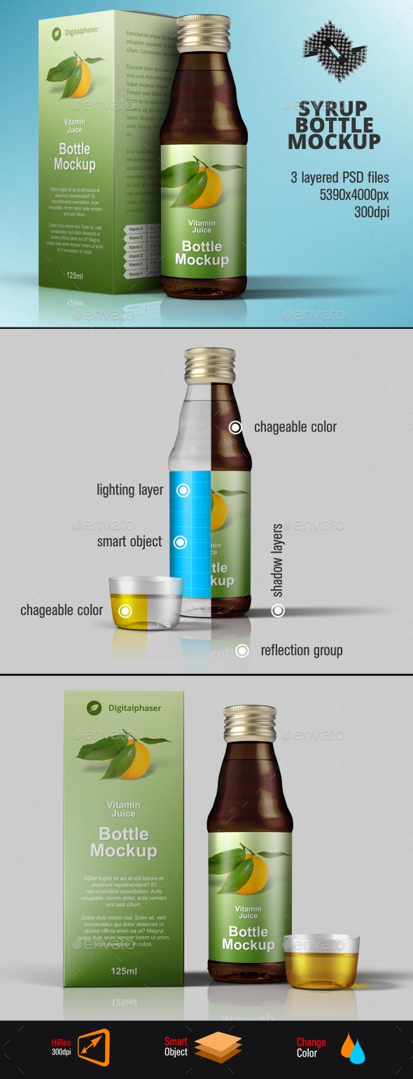 Medicine Syrup / Juice Packaging Mockup - Packaging Product Mock-Ups