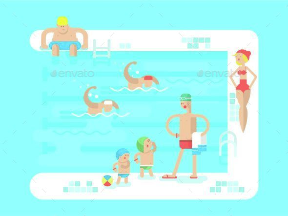 Public Swimming Pool - People Characters