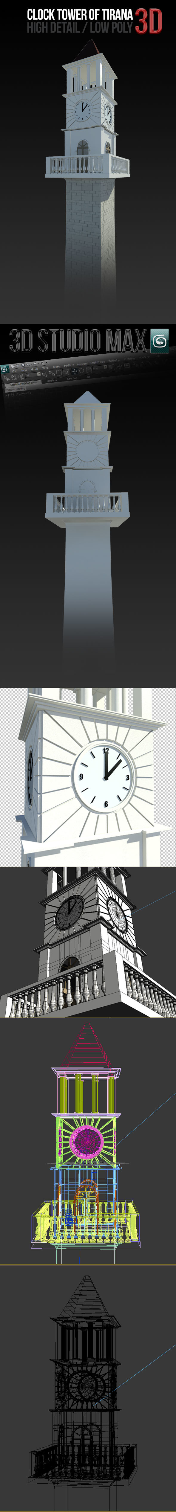 Clock Tower of Tirana - 3DOcean Item for Sale